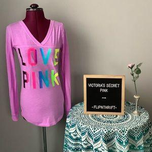🆕LISTING 💗VS PINK Purple Long Sleeve V-Neck